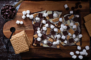 Chocolate bar with marshmallows, graham
