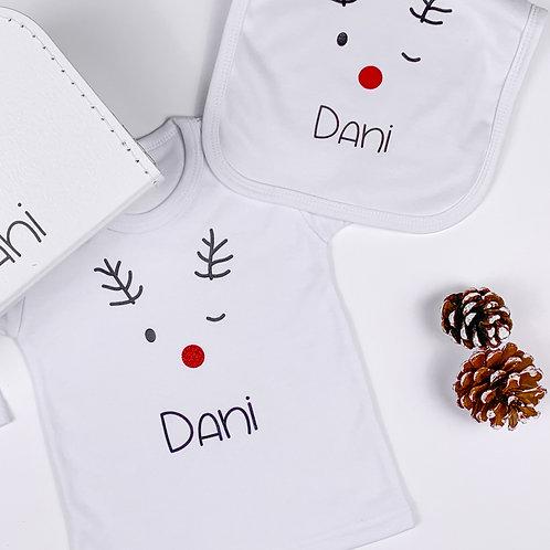 Setje t-shirt & slab met naam - happy reindeer (56-104)