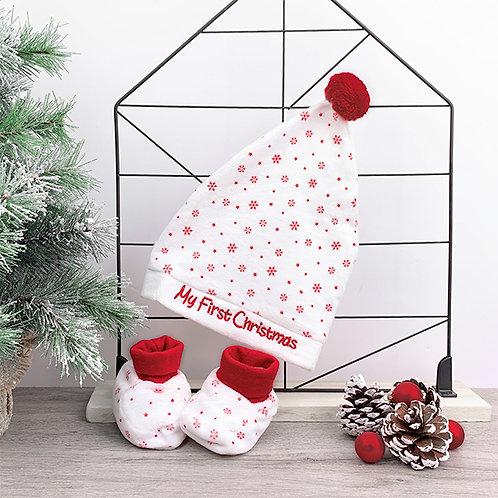 Kerstmuts & pantoffeltjes 'My First Christmas'