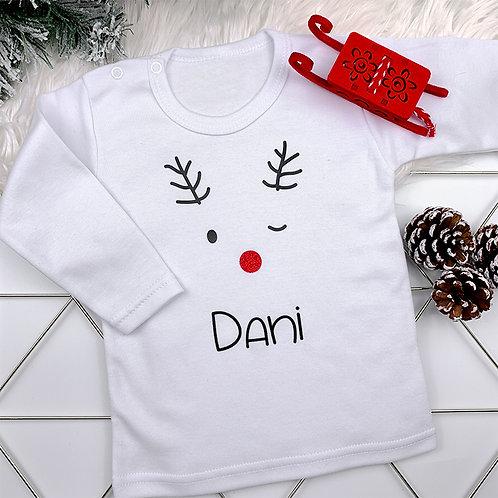 T-shirt met naam - happy reindeer (56-104)