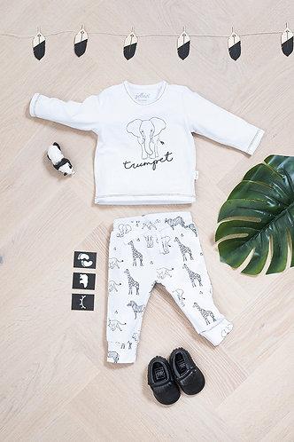 T-shirt & broekje 'Safari white'