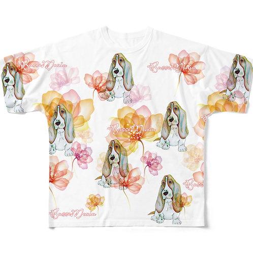 Basse MANIA クリスタルフラワー 総柄Tシャツ