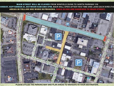 September 18, 2020: Main Street Closure on Monday, September 21