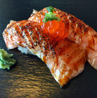Flamed Salmon Toro Nigiri