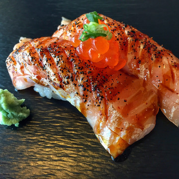 Flamed Salmon Belly Nigiri