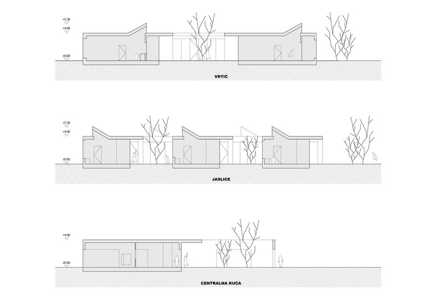 Sections through kindergarten building showing common space, atrium and courtyard