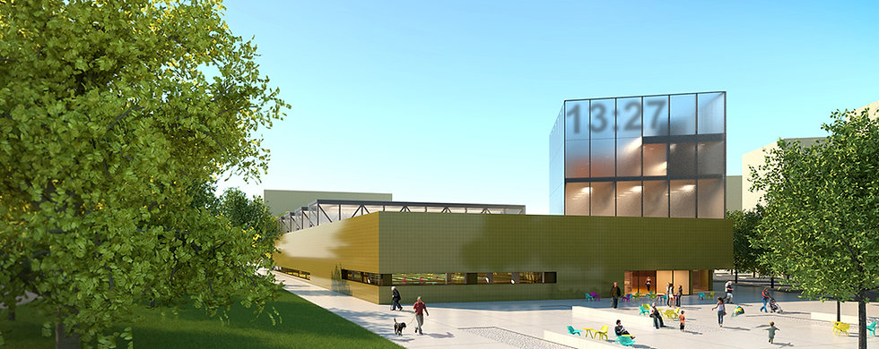 public swimming pool building with entrance square, yellow ceramic facade and glass tower above