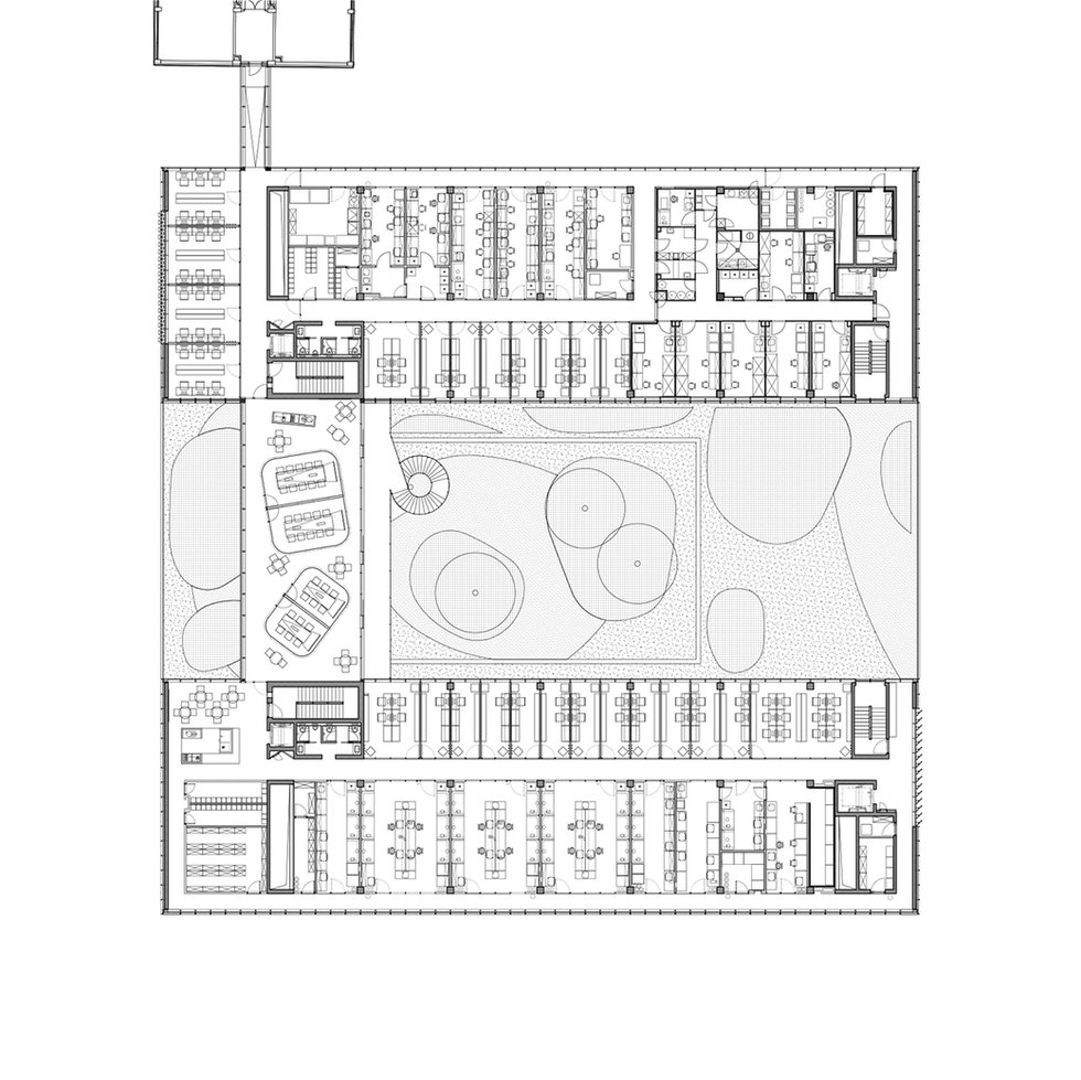 This is an architectural drawing showing floor plan of new laboratory building designed by Onda arhitektura.
