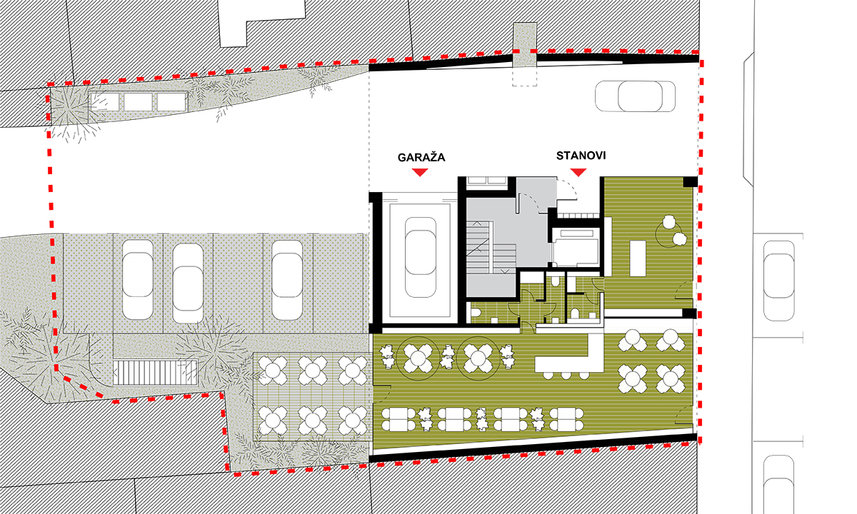 Ground floor plan of housing building in Zagreb