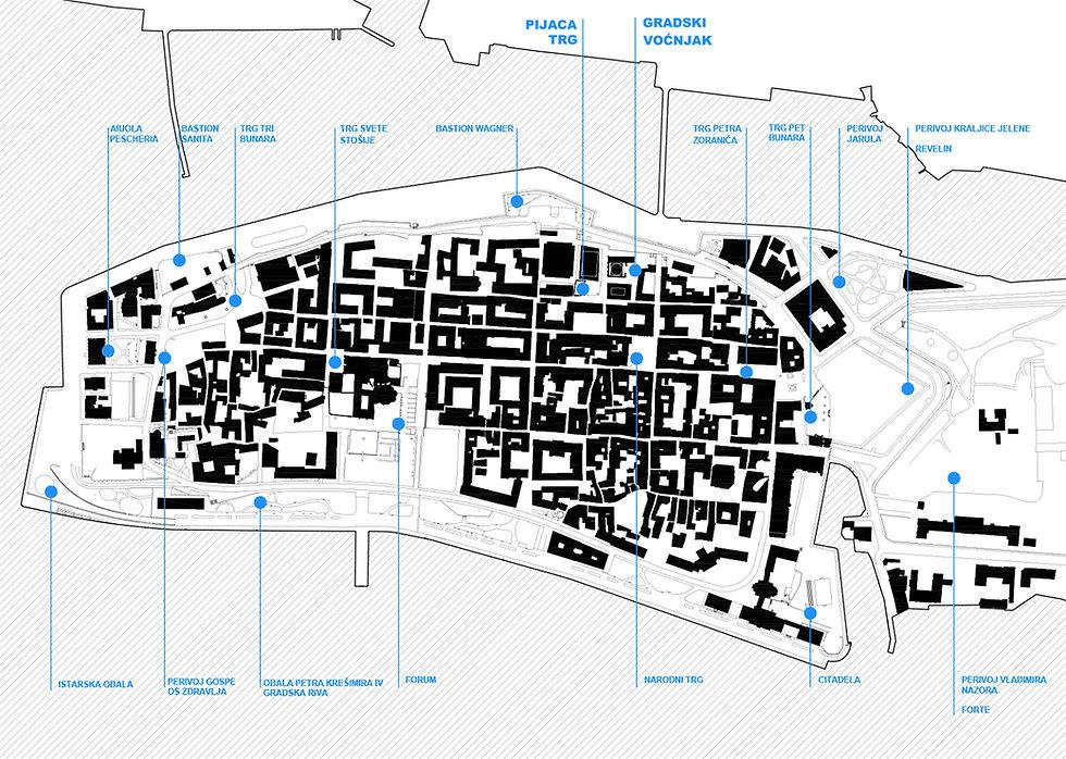 Site plan of Zadar historic centre showing open public spaces