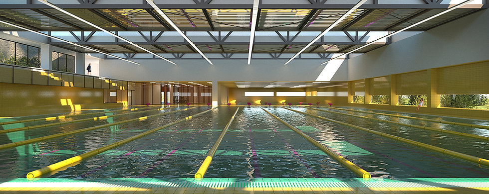 Swimming pool interior with strip windows, skylights and green and yellow ceramic tiles
