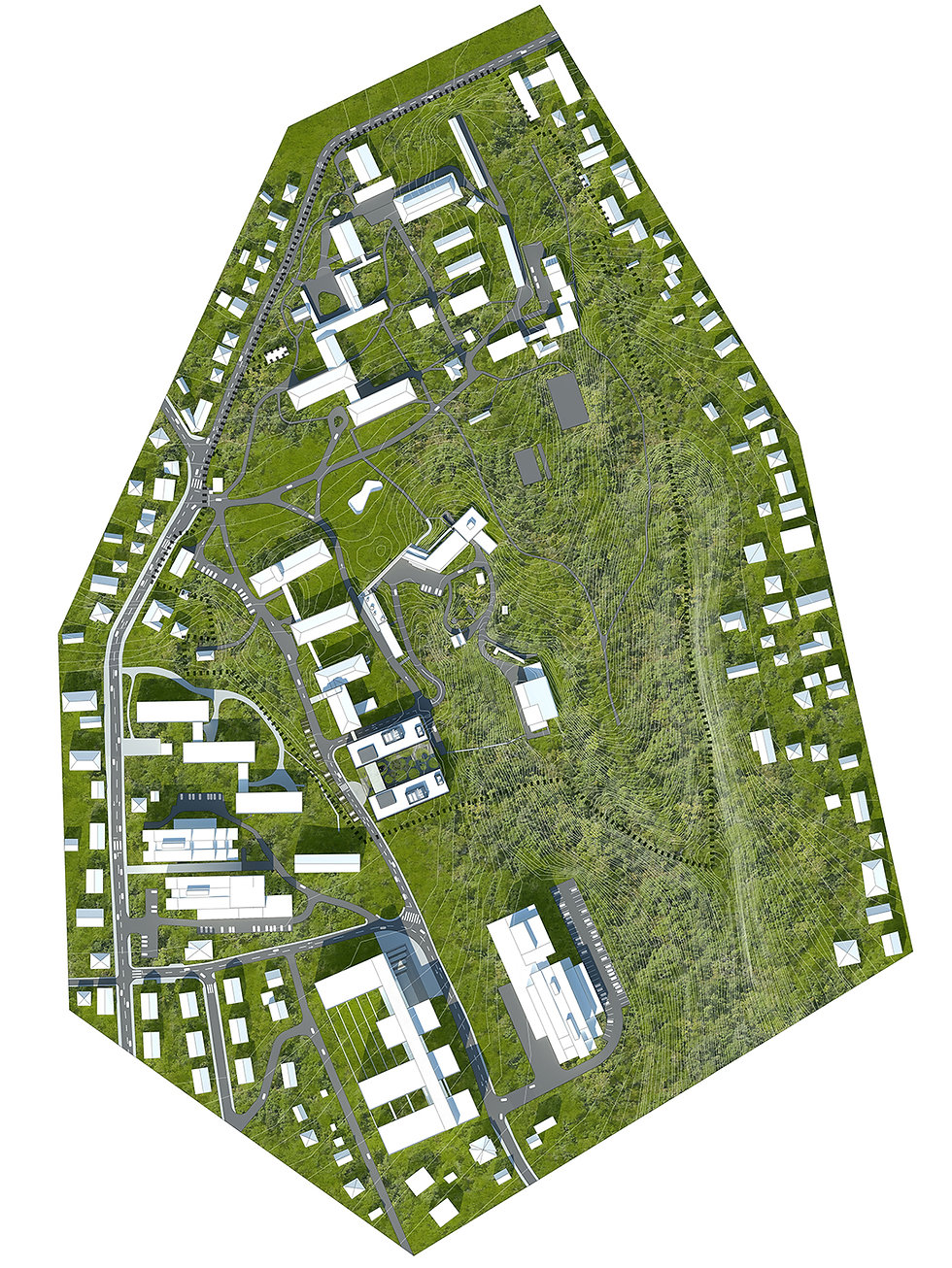 This is a site plan for Institute Ruđer Bošković in Zagreb, Croatia with the foor plan of the new laboratory building designed by Onda arhitektura.