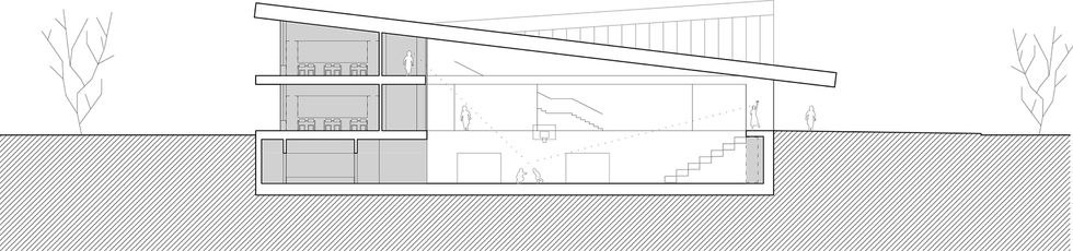 section through school building showing classrooms and sport hall under single slanted roof
