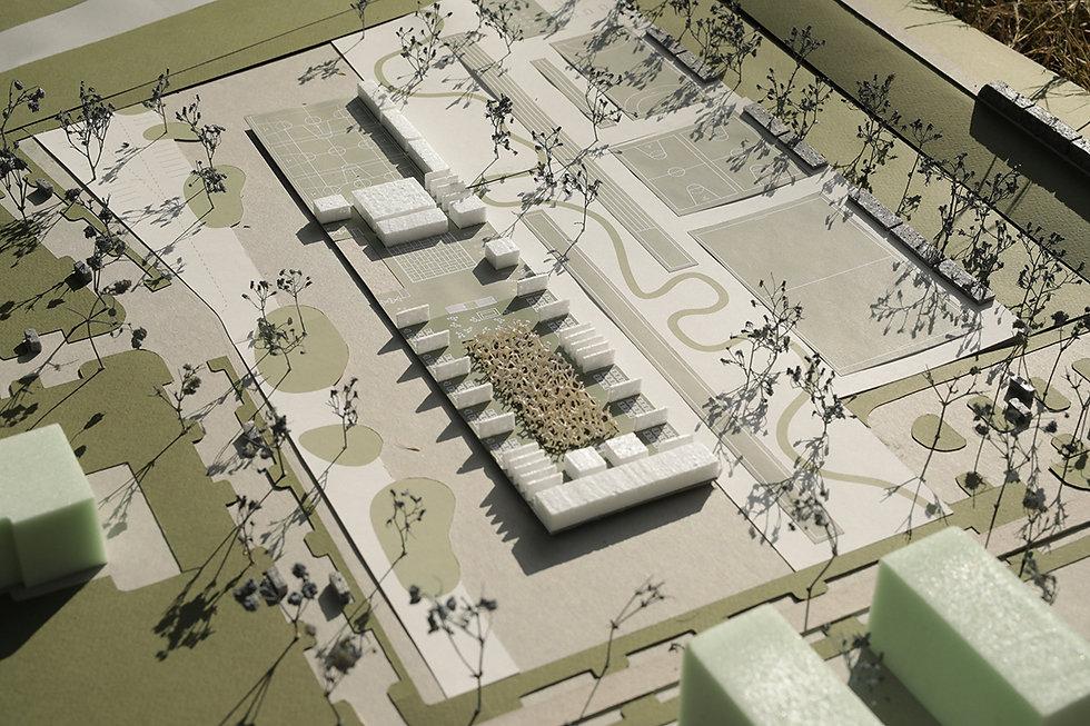 scale model of school building showing ground floor