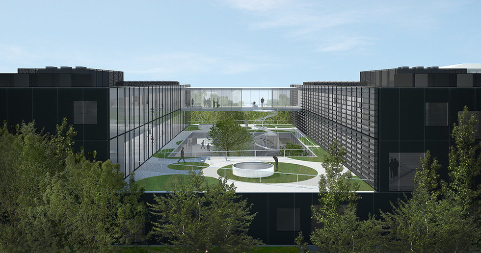 This is an architectural rendering showing new laboratory building with atrium, bridge and terraces, designed by Onda arhitektura.
