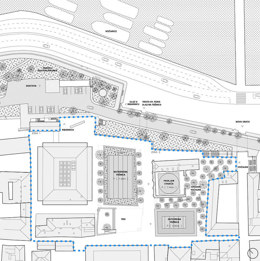 site plan showing new market place and public square in historic centre