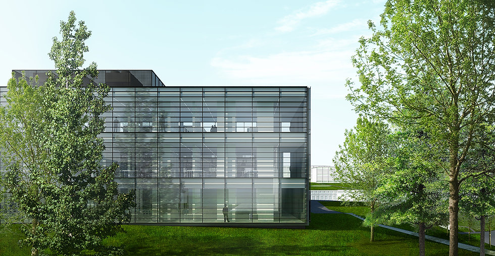 This is an architectural drawing showing rendering of new laboratory building designed by Onda arhitektura.