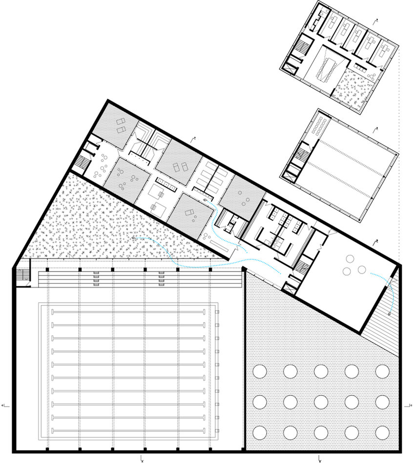 swimming pool floor plan showing sauna space, gym an green courtyard