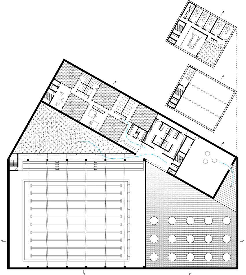 swimming pool floor plan showing sauna space, gym an green courtyard