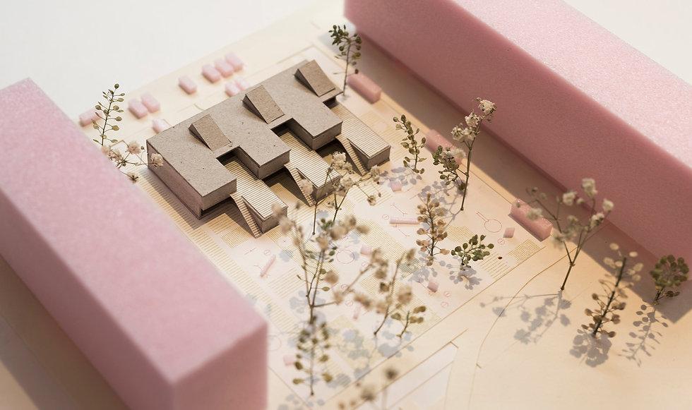 Model of kindergarten building with terraces