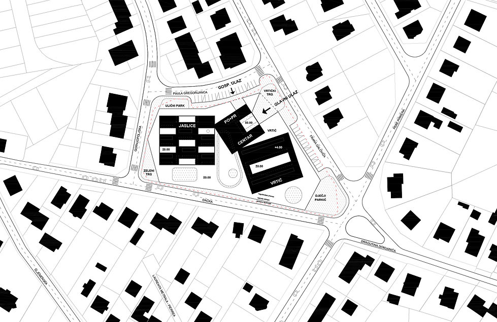 Kindergarten site plan with atriums, courtyards and public space