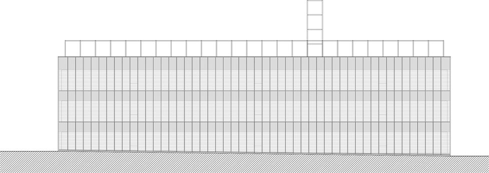 This is an architectural drawing showing elevation of new laboratory building designed by Onda arhitektura.