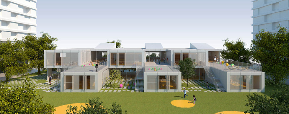 kindergarten with open terraces and children playing