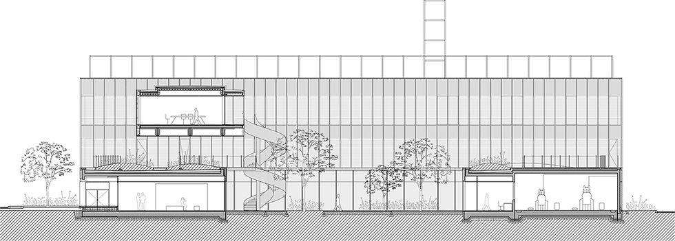 This is an architectural drawing showing section of new laboratory building designed by Onda arhitektura.