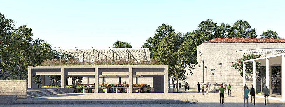 Market place with concrete columns and light steel roof structure in the green roof garden overlooks public square.