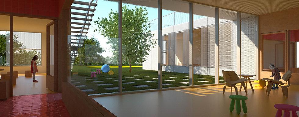 Kindergarten interior space with green courtyard.jpg