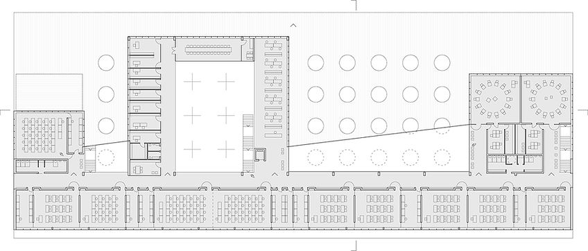 school floor plan showing classrooms and library overlooking common space