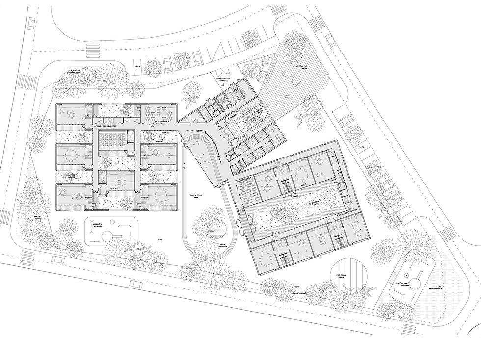 Kindergarten floor plan with courtyards, atriums and public spce