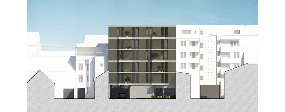 Courtyard elevation of city block showing new interpolated housing building facad