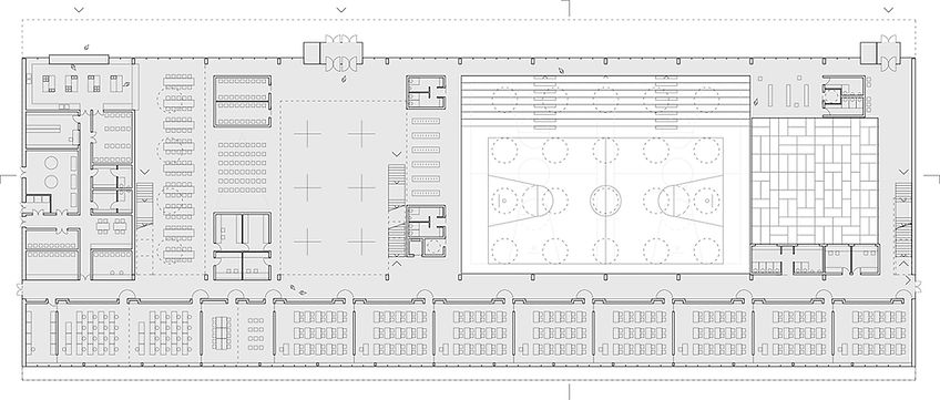 school ground floor plan showing classroms, sport hall and common space
