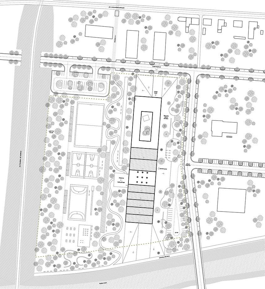 Site plan of school building in Vukovar