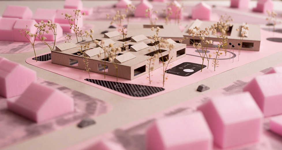 Model ofkindergarten building showing atriums and public space