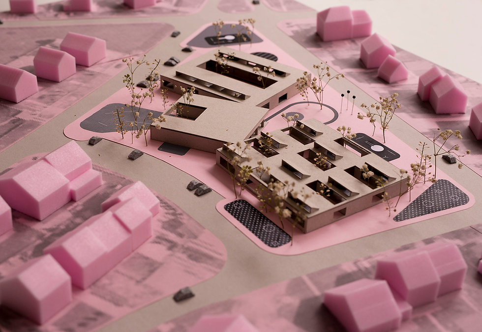 Model of kindergarten with green atriums an courtyards