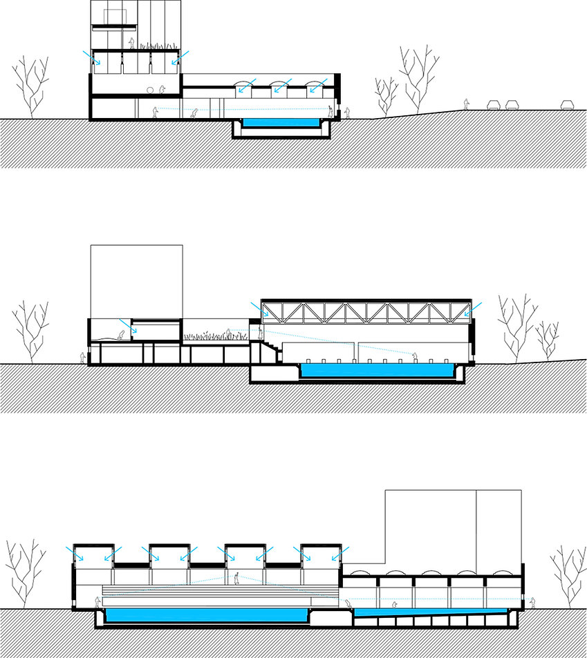 public swimming pool building sections showing skylights, courtyard and tower