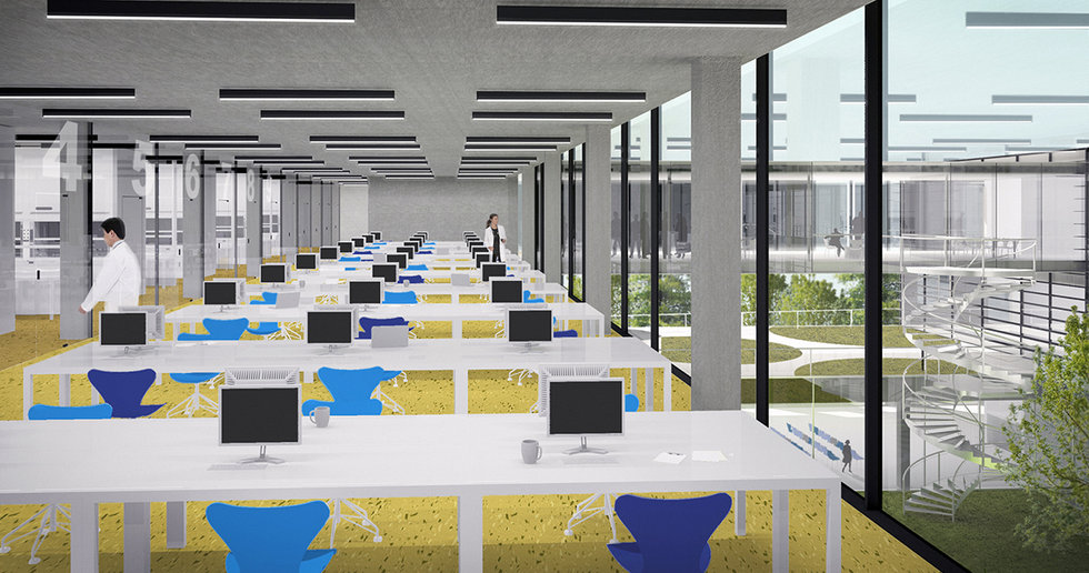 This is an architectural rendering showing new laboratory building with work space interior, designed by Onda arhitektura.