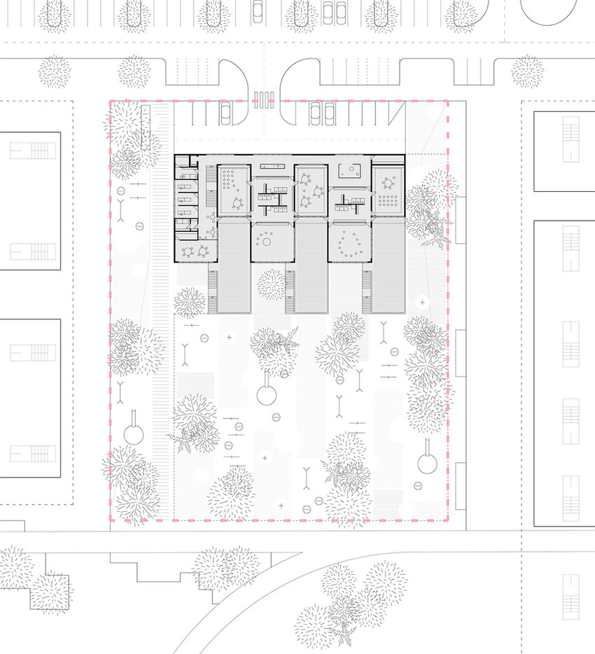 kindergarten with terraces floor plan drawing