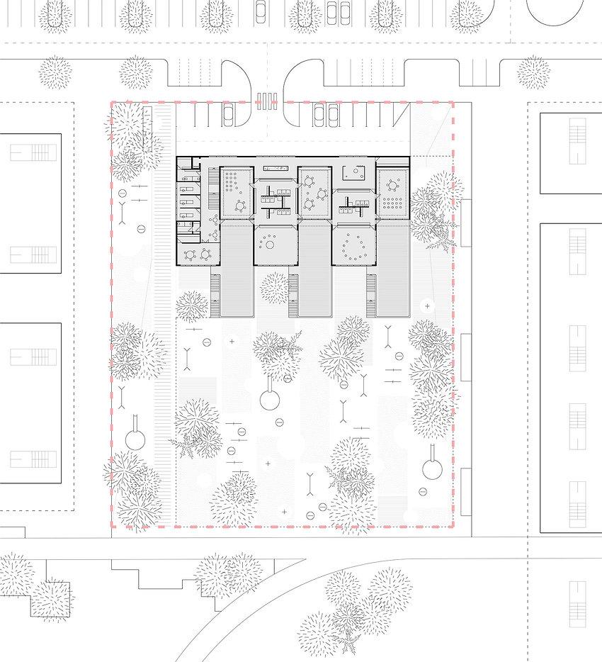 kindergarten with terraces floor plan drawing
