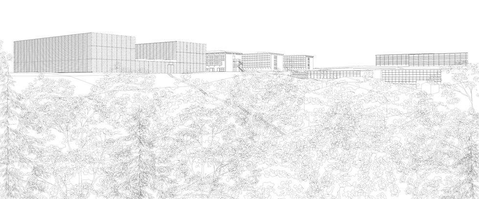 This is an architectural line drawing of the new labortory building designed by Onda arhitektura.