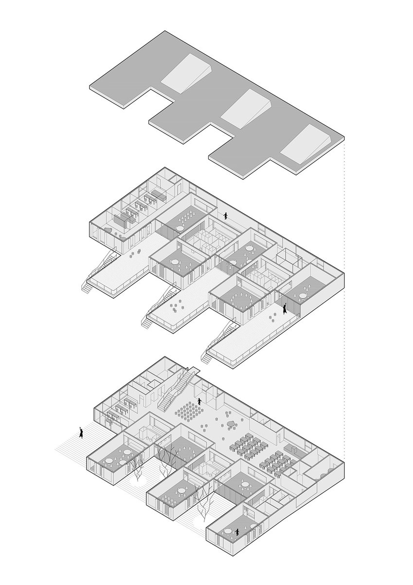 Axonometric view drawing of kindergarten