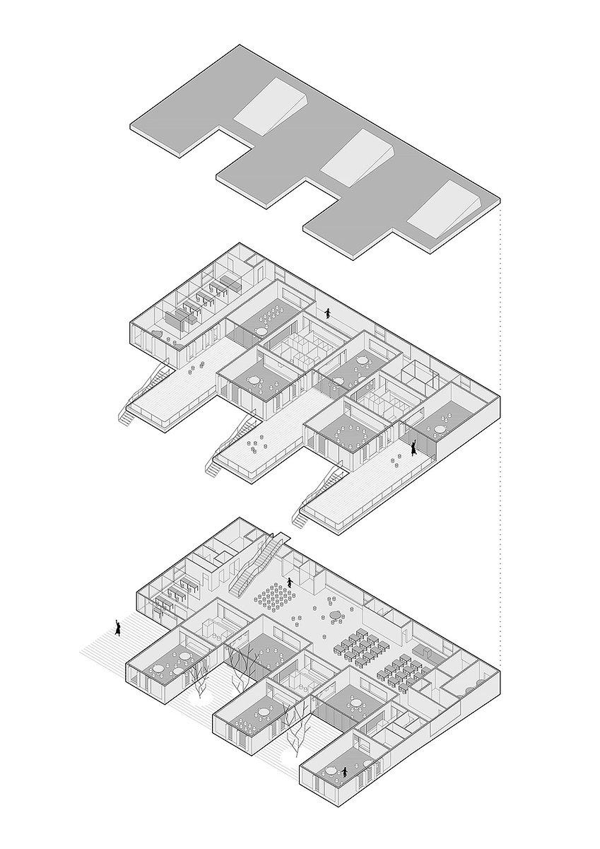 Axonometric view drawing of kindergarten