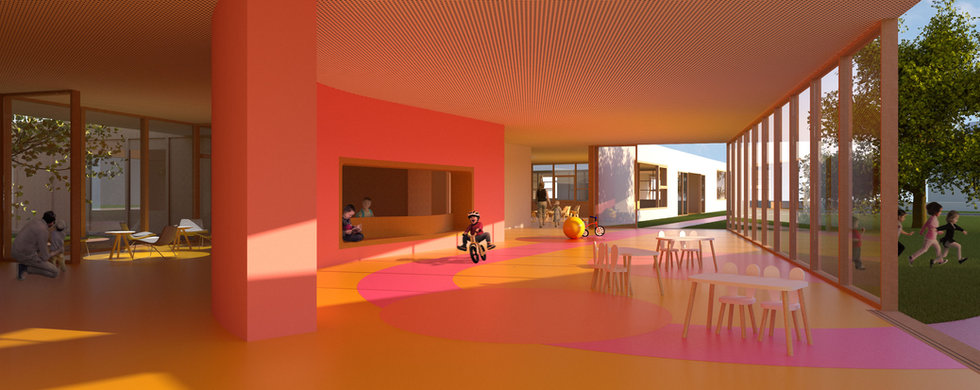 Kindergarten interior image with green courtyard and kids playing