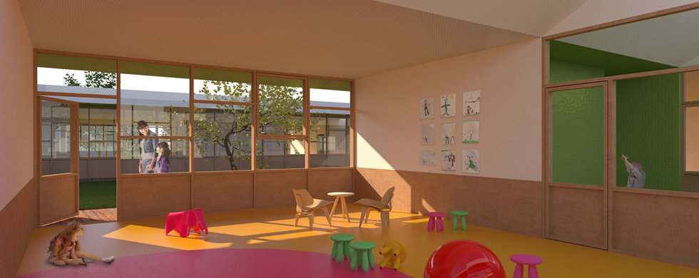 Kindergarten interior showing children's room with toys and furniture looking onto green courtyard