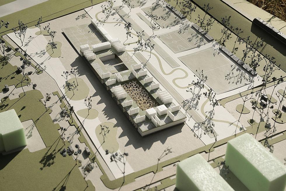 scale model of school building showing floor plan