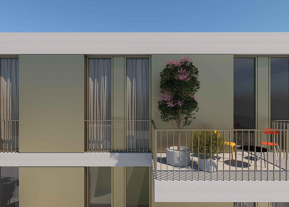 Segment of apartment building's facade showing balcony