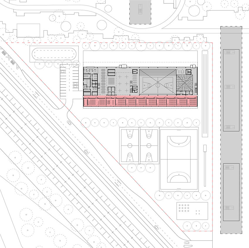 site plan of school building showing commo areas accesible for the public
