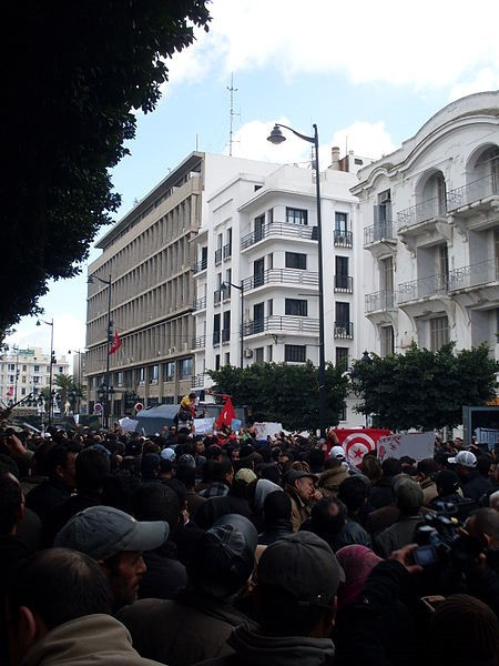 Pictured is a protest in one Tunis's main boulevards during Tunisia's December 2010-Jamuary 2011 revolution that led to the overthrow of Prisdent Zine El Abidine Ben Ali
